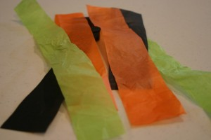 TISSUE PAPER STRIPS Pumpkin Ideas Light up jars