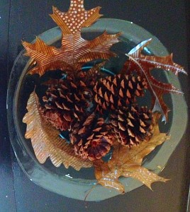 Decorated Leaves in a glass bowl