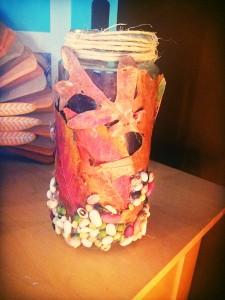 leaf craft: leaf and bean jar