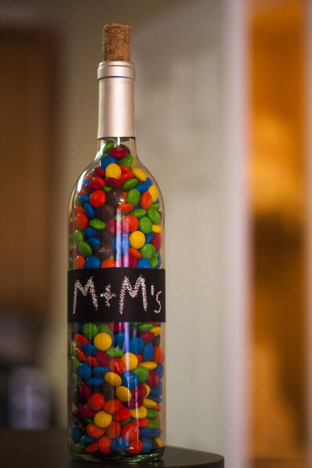 wine bottle candy holder